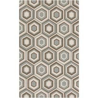Hand-Hooked Dave Geometric Rug (9' x