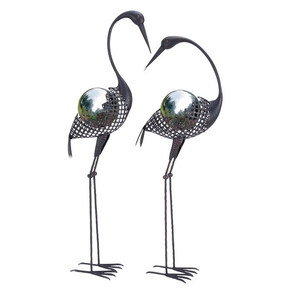 Metal Crane Gazing Ball Garden Dcor (Set of 2)