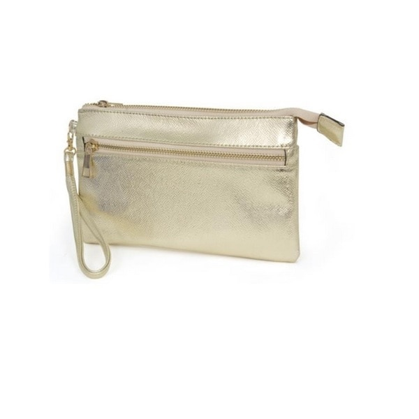 Rebecca and Rifka Metallic Faux Leather Zip Wallet Clutch