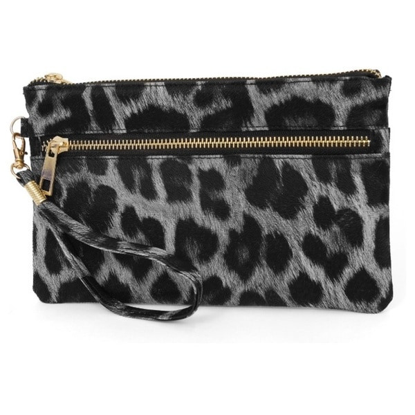 Rebecca and Rifka Leopard Print Faux Leather Zip Wallet Clutch