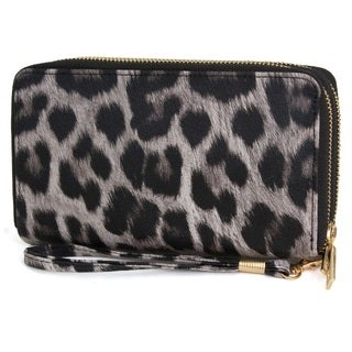 Rebecca and Rifka Leopard Print Faux Leather Double Zip Around Wallet