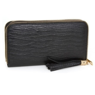 Rebecca and Rifka Faux Leather Zip Around Tassel Wallet