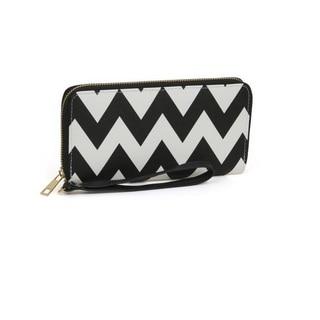 Rebecca and Rifka Chevron Print Saffiano Faux Leather Zip Around Wallet