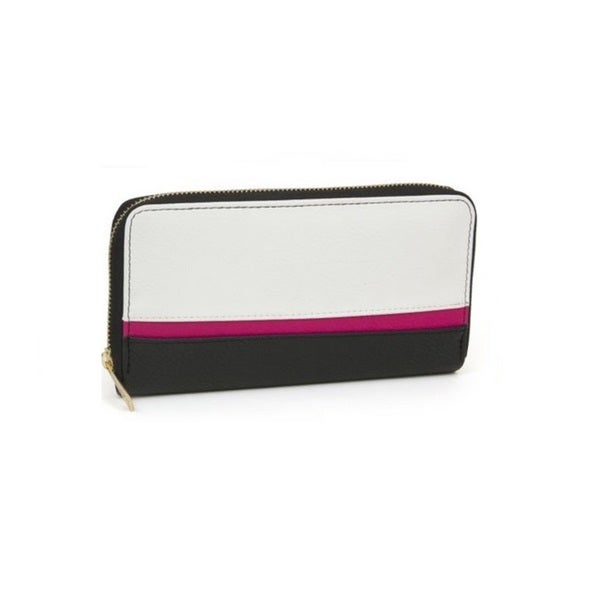 Rebecca and Rifka Color Block Faux Leather Zip Around Wallet