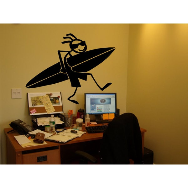 Sticky Figure Surfing Surfer Surfboard Black Sticker Vinyl Wall Art