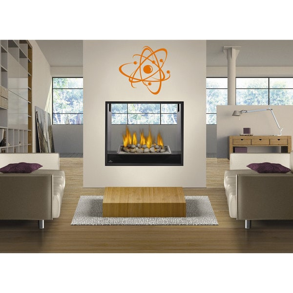 Nuclear Atom Orange Sticker Vinyl Wall Art