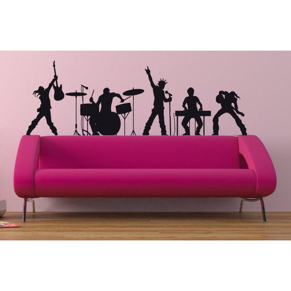 Rock Band Rock'N'Roll Black Sticker Vinyl Wall Art