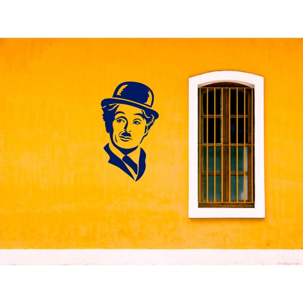Charlie Chaplin The Tramp Blue Sticker Vinyl Wall Art