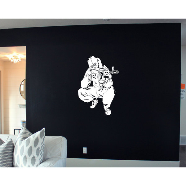 Army Navy Military Soldier White Sticker Wall Art