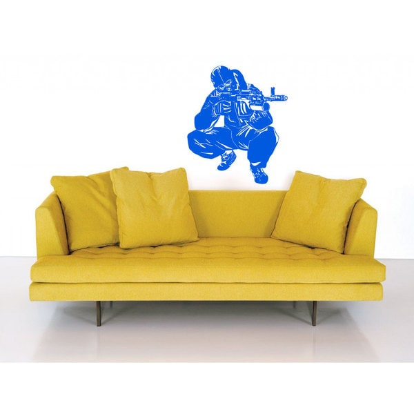 Vinyl Army Navy Military Soldier Blue Sticker Wall Art