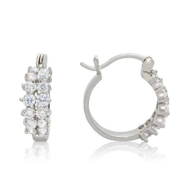 Sterling Silver 1 5/8ct TGW Double Row Cubic Zirconia Hoop Earrings