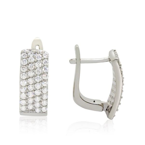 Sterling Silver 1ct TGW Cubic Zirconia Pave Latch Back Earrings