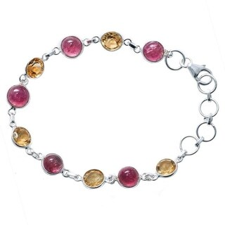 Handmade Sterling Silver Tourmaline and Citrine Bracelet (India)