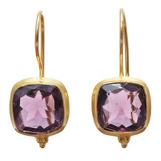 Handcrafted Brass Goldplated Rose Hydro Glass Earrings (India)