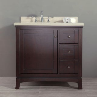 Ove Decors Valega 36 Inch Single Bowl Bath Vanity with Marble Top