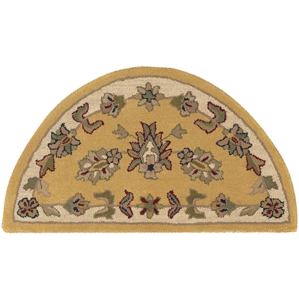 LNR Home Shapes Lr10580 Gold/ Ivory Half Circle Rug (2' x 4')