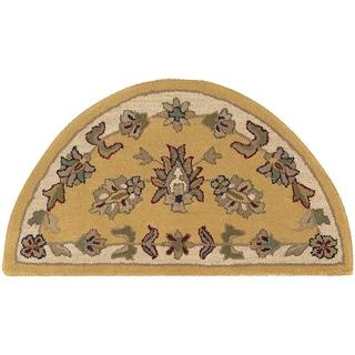 LNR Home Shapes Lr10580 Gold/ Ivory Half Circle Rug (2' x 4')