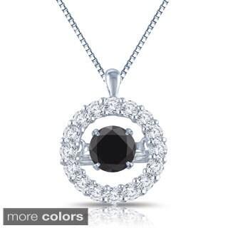Auriya 14k White Gold 1ct TDW Halo 'Dancing Diamond' Necklace (H-I, I1-I2)
