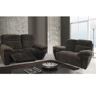 Ramona 2-piece Dark Brown Plush Microfiber Sofa Set with 4 Recliners