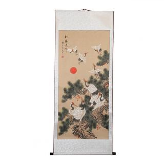 Hand-painted Longevity Crane and Pine Chinese Scroll (China)