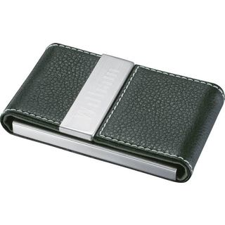 Visol Carlisle Black Leather and Stainless Steel Business Card Case
