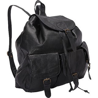 SHARO BaPa-200 Large Soft Black Leather 3-pocket Backpack