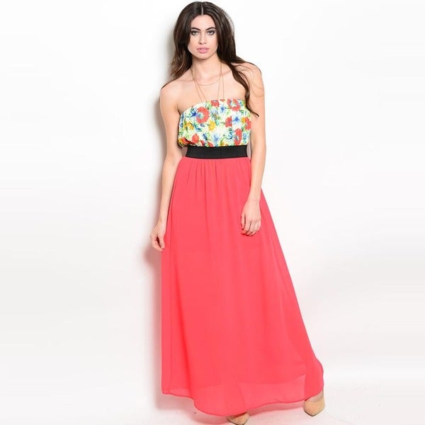 Shop The Trends Women's Strapless Floral Printed Top Sheer Skirt Maxi Dress