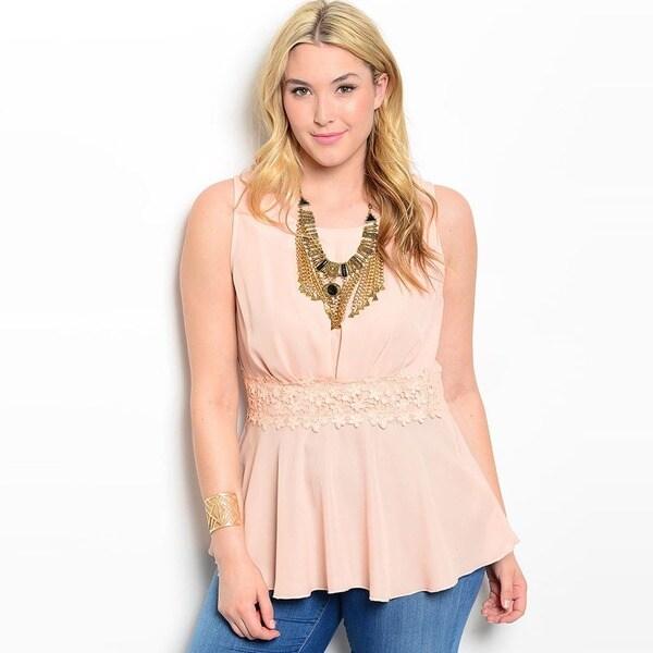 Shop The Trends Women's Plus Size Sleeveless Wavy Hem Lace Waist Baby Doll Top
