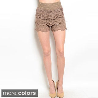 Shop The Trends Women's Crochet Wide Elastic Waistband Scalloped Hem Mini Shorts