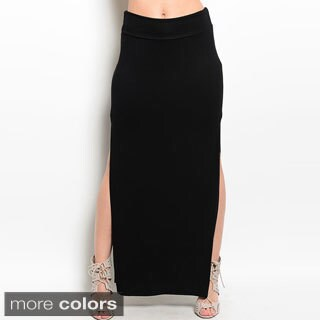 Shop The Trends Women's Jersey Double Side Slit Elastic Waist Maxi Skirt
