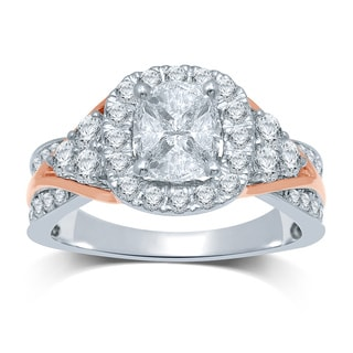 10k 2-tone Gold 11/2ct TDW Invisible-set Cushella Diamond 'Love Cuts' Engagement Ring (G-H, SI3)