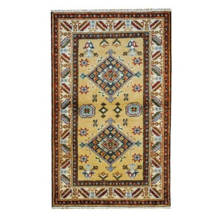 Herat Oriental Afghan Hand-knotted Tribal Kazak Tan/ Ivory Wool Rug (3'2 x 5')