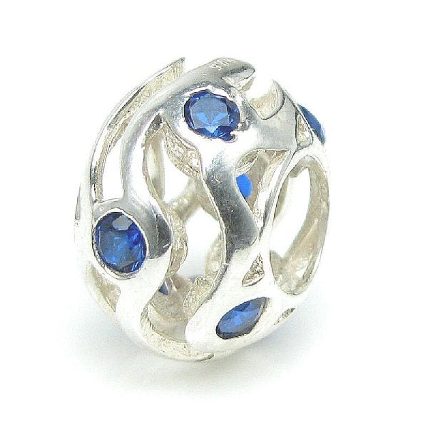 Queenberry Sterling Silver Birthstone Wave European Bead Charm