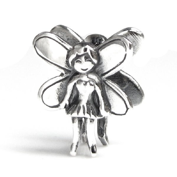 Queenberry Sterling Silver Smiling Fairy European Bead Charm