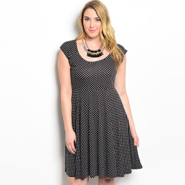 Shop The Trends Women's Plus-size Cap Sleeve Polka Dot Dress