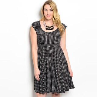 Feellib Women's Plus-size Cap Sleeve Polka Dot Dress
