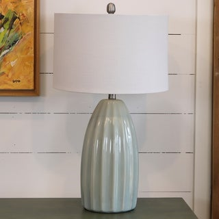 27-inch Blue Crackle Table Lamp