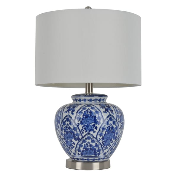 20 Inch Blue And White Ceramic Table Lamp 17197470