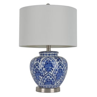 20-inch Blue and White Ceramic Table Lamp