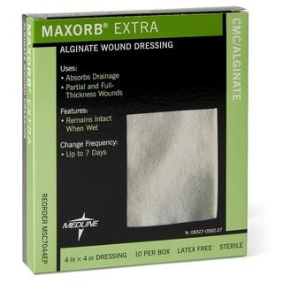 Medline Maxorb Extra Alginate 4-inch Wound Dressings (Box of 10)