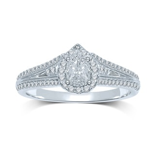 Unending Love 14k White Gold 1/3ct TDW Invisible-set Diamond Pear Setting Milgrain Engagement Ring (G-H, SI3)