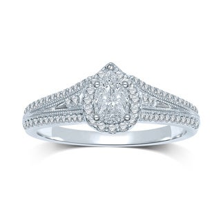 14k White Gold 1/3ct TDW Invisible-set Diamond Pear Setting Milgrain Engagement Ring (G-H, SI3)