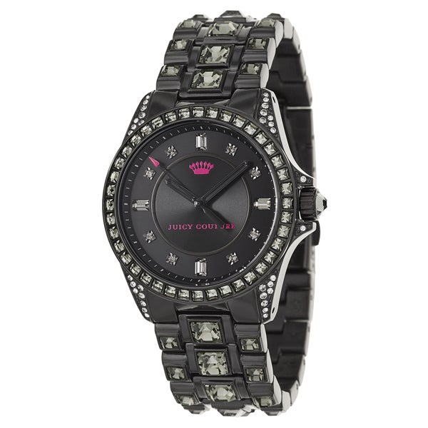 Juicy Couture Women's 'Stella' Stainless Steel Black Ion Plated and Crystals Quartz Watch