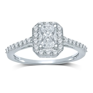 14k White Gold 3/4ct TDW Emerald 'Cushella Love Cuts' Diamond Halo Engagement Ring (H-I, SI3)