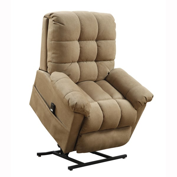 Archer tan fabric power lift chair recliner overstock for Addin chaise recliner