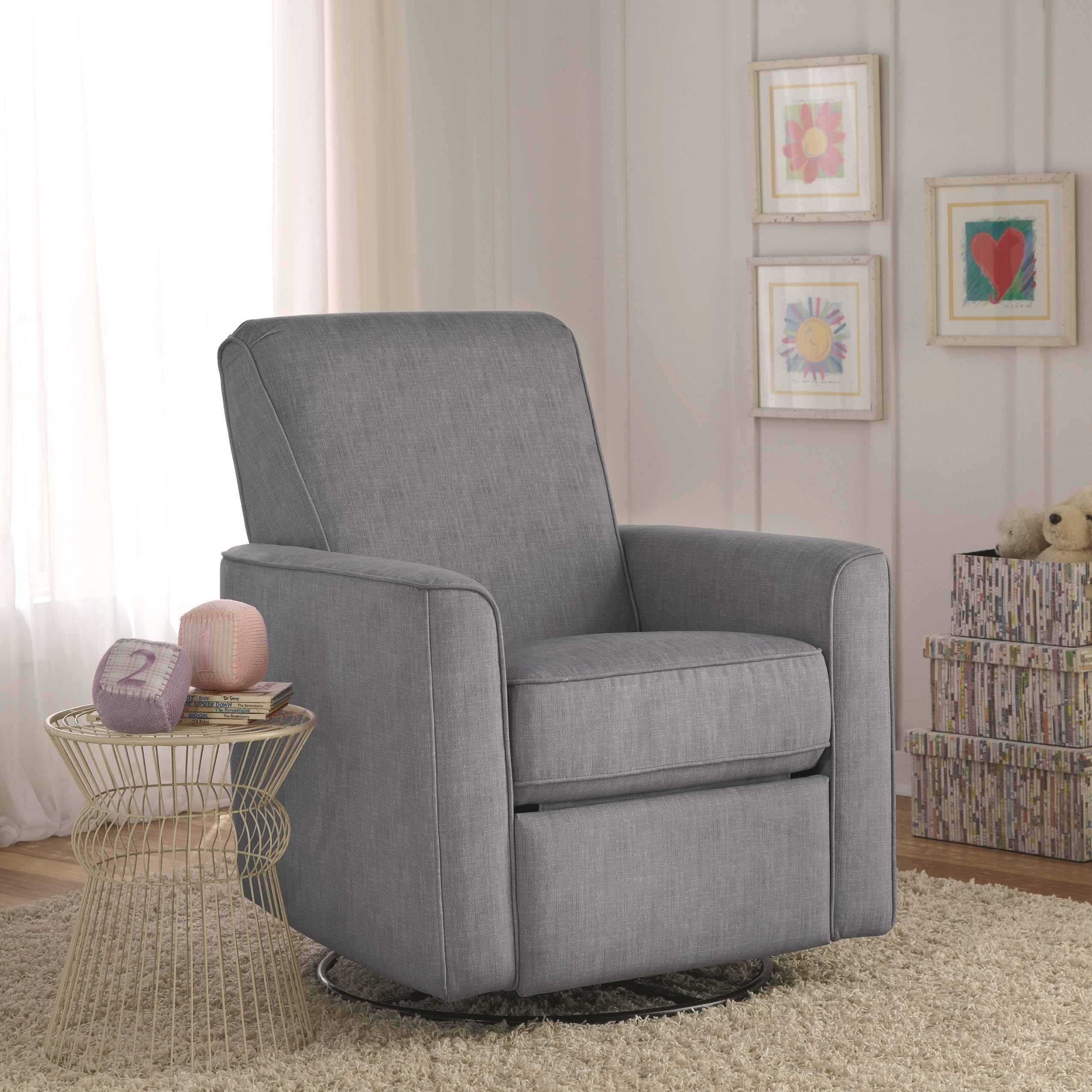 Zoey Grey Nursery Swivel Glider Recliner Chair Overstock
