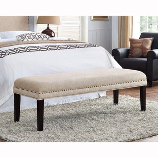 Tan Upholstered Bench With Nail Head Trim