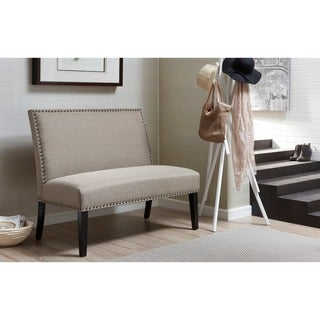 Brown Upholstered Nail Head Trim Banquette Bench