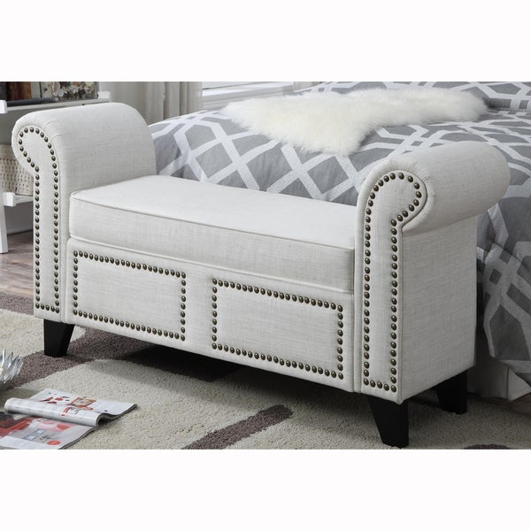 rolled arm cream upholstered bench with nail head trim 17197823