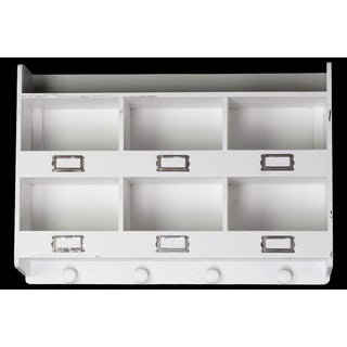 White Wooden Wall Rack with 6 Shelves 6 Metal Card Holders and 4 Knobs